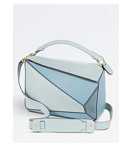 LOEWE Puzzle leather shoulder bag (Aqua/light+blue