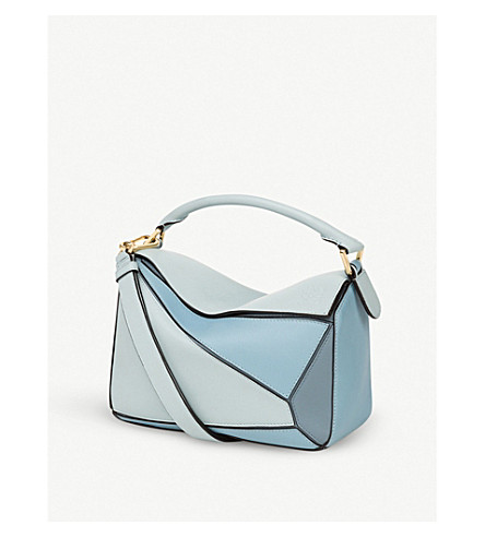 LOEWE Puzzle small leather shoulder bag (Aqua/light+blue