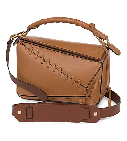 LOEWE Puzzled laced leather shoulder bag (Tan