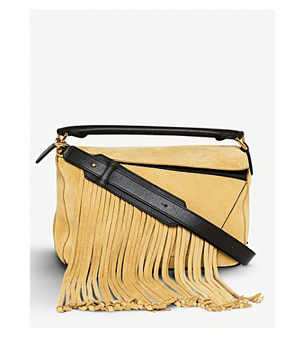 LOEWE Puzzle Fringes suede shoulder bag (Gold