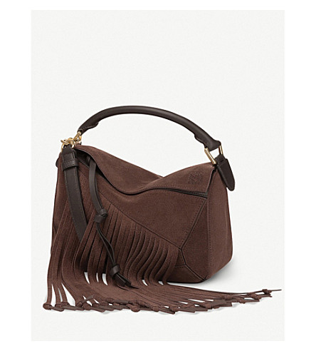 LOEWE Puzzle Fringes suede shoulder bag (Espresso+brown