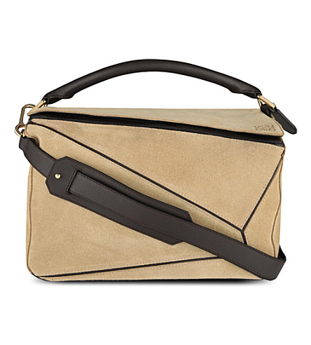 LOEWE Puzzle suede bag small (Gold