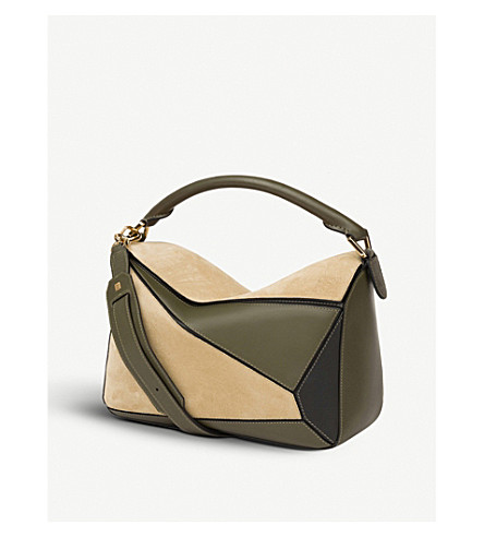 LOEWE Puzzle leather and suede shoulder bag (Gold/green/blk