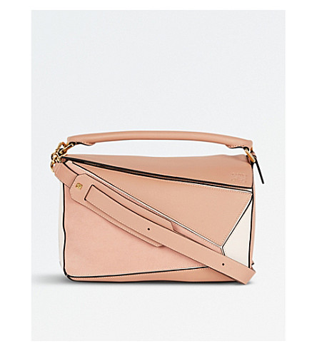 LOEWE Puzzle leather shoulder bag (Blush+multitone