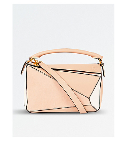 LOEWE Puzzle leather shoulder bag (Blush+multitone