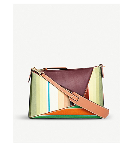LOEWE Puzzle striped canvas and leather mini shoulder bag (Multicolour