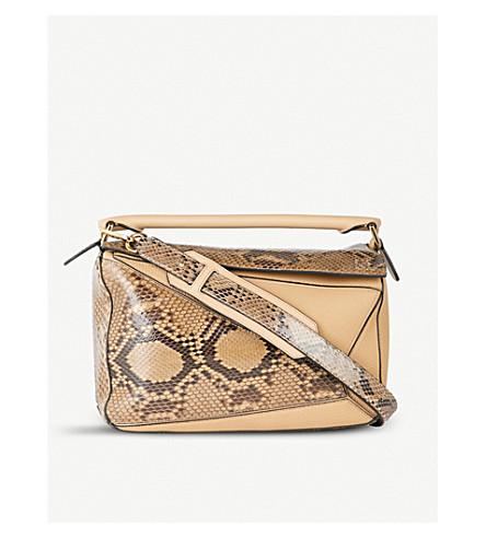 LOEWE Puzzle leather and snakeskin shoulder bag (Desert