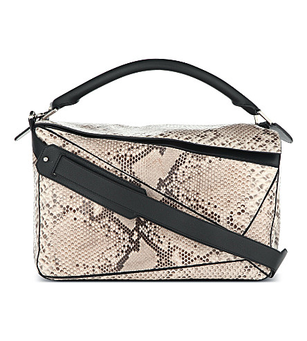 LOEWE Puzzle python shoulder bag (Natural