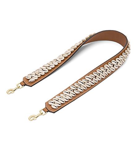 LOEWE Shells leather shoulder strap (Tan