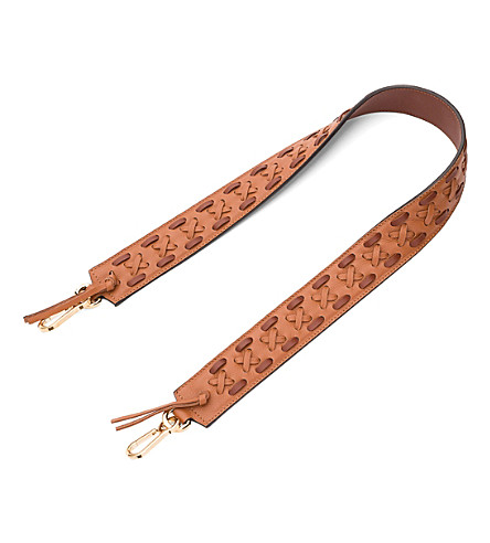 LOEWE Laced leather bag strap (Tan