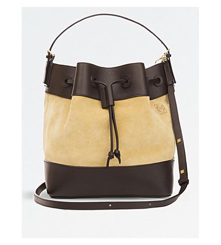 LOEWE Midnight leather and suede bucket bag (Gold/dark+brown