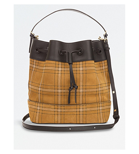 LOEWE Midnight leather and cotton-canvas bag (Black/caramel/navy