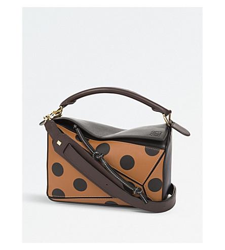 LOEWE Puzzle polka-dot leather shoulder bag (Black/tan/brown