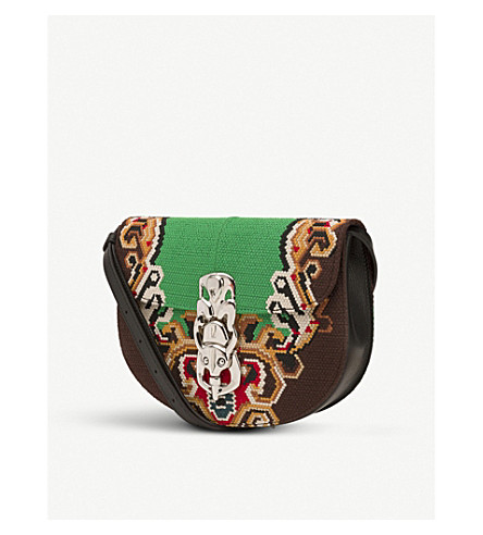LOEWE Lapin embroidered cross-body bag (Green/black