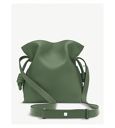 LOEWE Flamenco Knot small leather bag (Forest+green