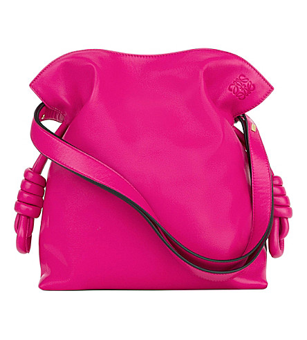LOEWE Flamenco knot leather bag (Fuchsia