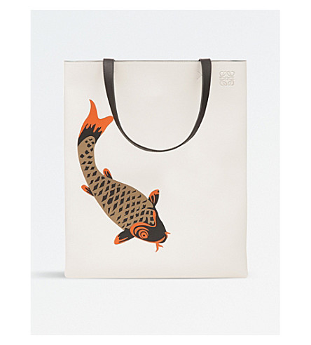 LOEWE Pesce leather vertical tote bag (Soft+white/orange