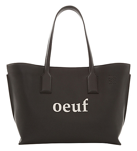 LOEWE T shopper oeuf leather shopper bag (Black