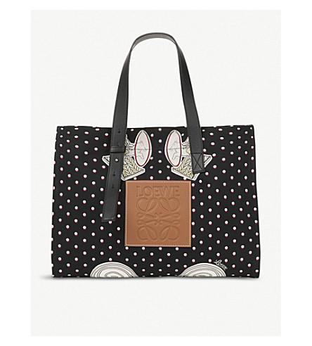 LOEWE Loewe x Paula's Ibiza Plumetis large canvas tote bag Black Discount Find Great 3hsdnOK