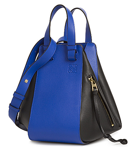 LOEWE Hammock small leather shoulder bag (Electric+blue/black