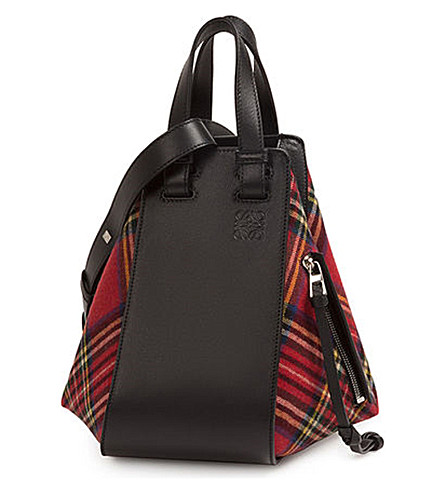 LOEWE Hammock tartan leather bag (Black/red+tartan