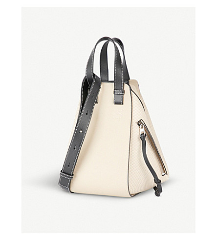 LOEWE Hammock small leather shoulder bag (Oat/black