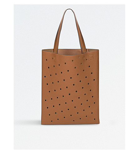 LOEWE Stars leather vertical tote bag (Tan