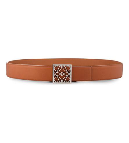 LOEWE Anagram frame belt (Tan/palladium