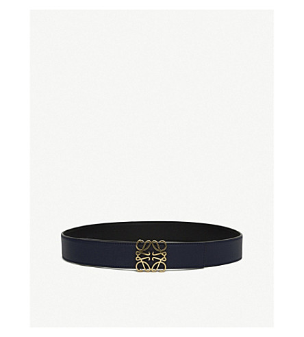 LOEWE Anagram reversible leather belt (Black/navy/gold