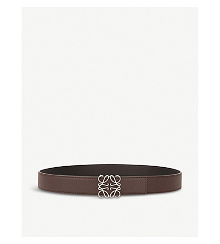 LOEWE Anagram reversible leather belt (Black/chocolate