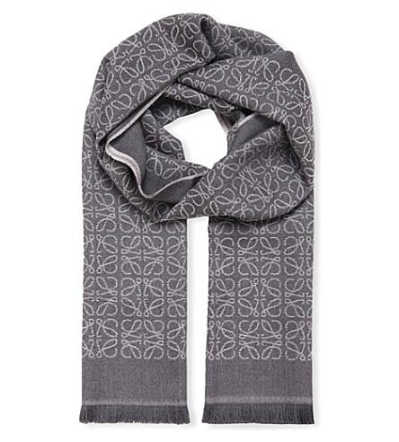 LOEWE Anagram jacquard wool scarf (Anthracite