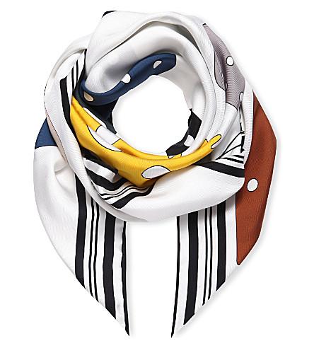 LOEWE Meccano silk scarf (White/yellow