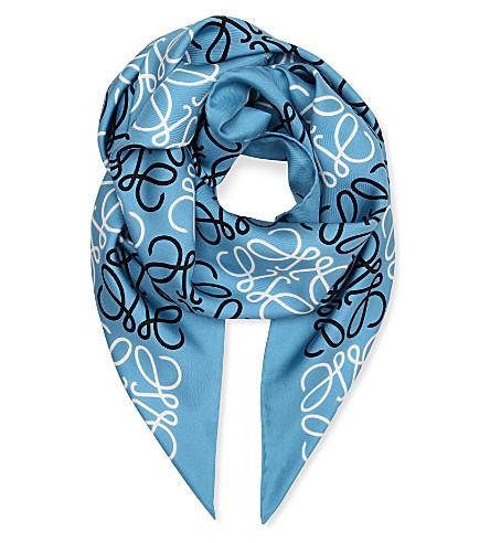 LOEWE Anagram silk scarf (Blue/white