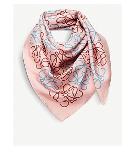 LOEWE Anagram silk scarf (Pink/blue