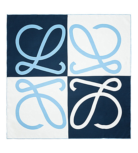 LOEWE Giant silk anagram scarf (Black/electric+blue