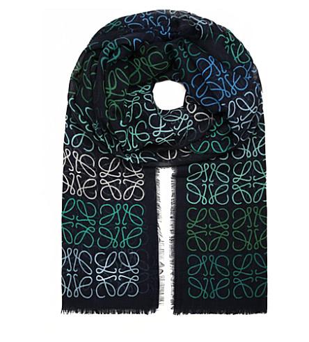 LOEWE Anagram line scarf (Navy+blue