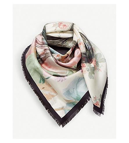 LOEWE Roses-print silk scarf (White/pink