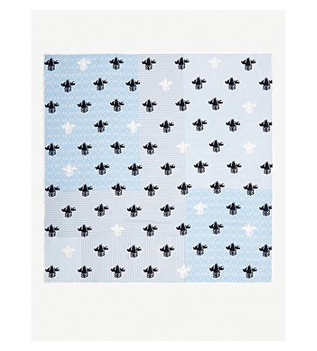 LOEWE Flower On Stripe silk scarf (Blue