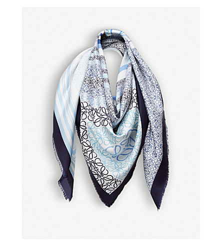 LOEWE Patchwork-print silk scarf (Blue/multicolour