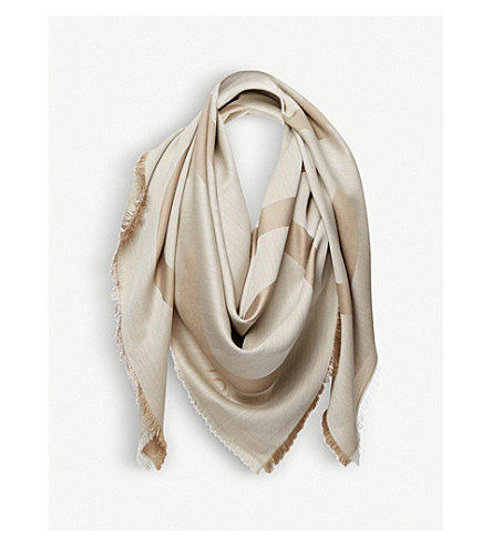 LOEWE Anagram wool and silk-blend scarf (Beige/white