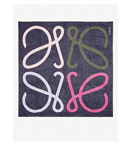 LOEWE Logo-print silk scarf (Multicolour