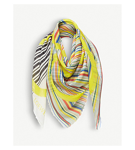 LOEWE Striped Anagram silk scarf (Multicolour