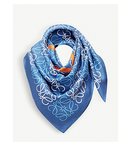 LOEWE Hello Loewe silk scarf (Blue/orange