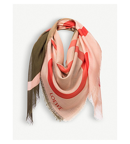 LOEWE Anagram silk scarf (Green/pink