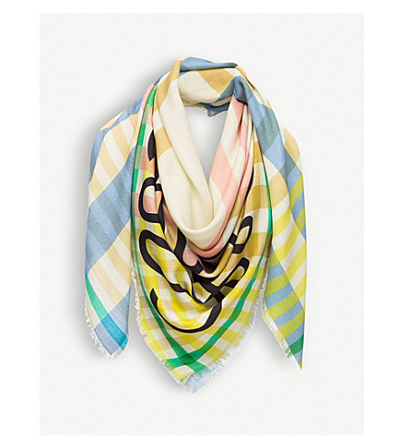 LOEWE Anagram-motif checked wool and silk-blend scarf (Multicolour