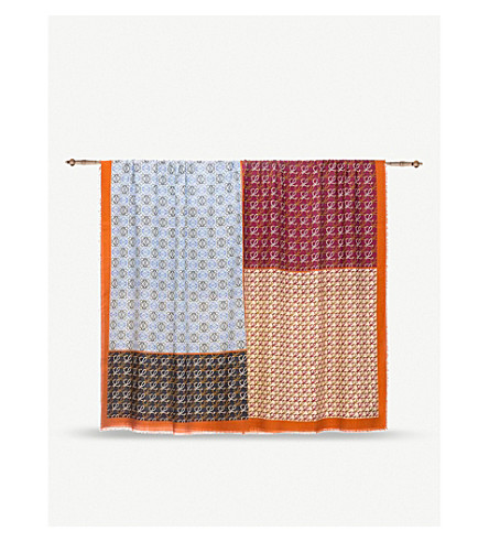 LOEWE Patchwork wool and silk-blend scarf (Multicolour
