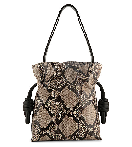 LOEWE Flamenco knot python bag (Natural