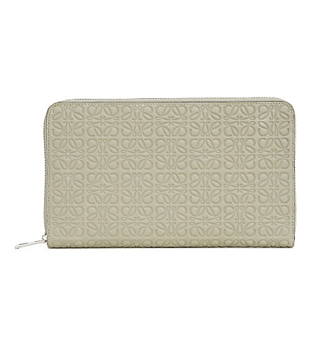 LOEWE Logo-embossed leather zip-around wallet (Stone