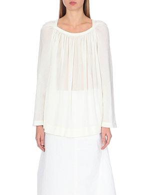 LOEWE Semi-sheer cotton-blend blouse
