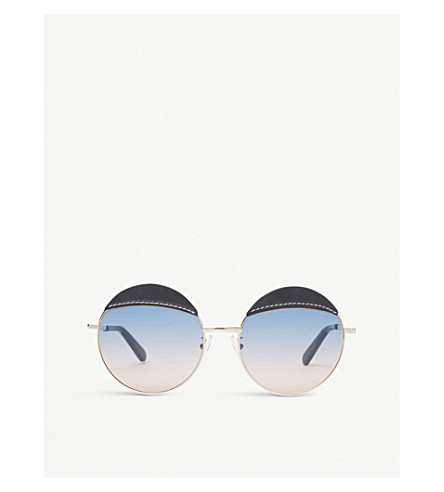 LOEWE Leather-detail round-frame sunglasses (Blue/blue+gradient+p
